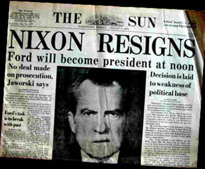 Nixon Resigns, The Sun, Watergate scandal