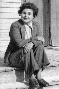 Elizabeth Bishop seated