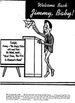 "Cartoon of James Baldwin - ""Color Him Funny,"" Display Ad 23 (No Title), Chicago Defender, March 16, 1964."