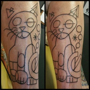 Rob Pawlewski, Lines on an abstract cat tattoo based on the work of Joan Miró