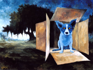 "George Rodrigue, ""Dog in a Box,"" 1990; one of his series of Blue Dog paintings, based on the Cajun loup-garou legend"
