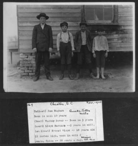 "Photo 369. Sarah Hine's caption: ""(Tallest) Sam Bigham, Eureka Cotton Mills. Been in mill 10 years. (Next) Washey Dover--Been in 3 years. (Next) Lloyd Barnado--2 years in mill. (Smallest) Ernst Floyd--10 years old, 52 inches high. Been in mill 2 years. Spins--60 cents a day. Witness S.R. Hine. Location: Chester, South Carolina."""