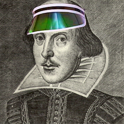 Shakespeare with editor's green eyeshade (illustrating notes on the Zeteo Editorial Process)