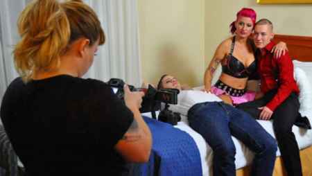 Courtney Trouble (with camera), Wolf Hudson (lying down), Zahra Stardust and James Darling (transgender performer) in Toronto - re: feminist pornography