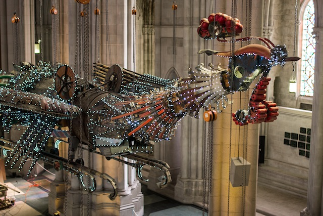 Phoenix of Xu Bing as installed at the Cathedral of St. John the Divine, New York