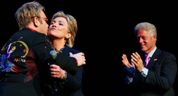 Hillary Bill and Elton John