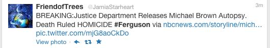 Ferguson Twitter, Michael Brown autoposy tweet