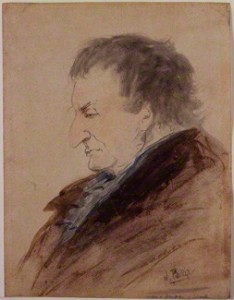 "Joseph Mallord William Turner by John Phillip, c. 1850, watercolor, 12 1/8 x 9 3/8"", National Portrait Gallery London"