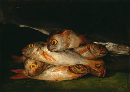 "Goya, Still Life with Golden Bream, 1808-12. Oil on canvas, 17 5/8 x 24 5/8"". The Museum of Fine Arts, Houston."