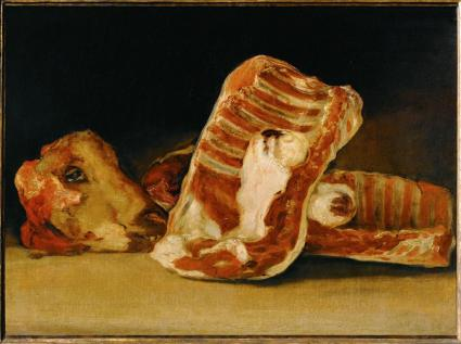 "Goya, Still Life with Sheep's Head and Ribs, 1808-12. Oil on canvas, 17 ¾ x 24 3/8"". Musée du Louvre, Paris."