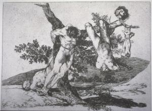 "Goya, The Disasters of War series, 'Great Courage! Against the Dead!', 1810-15. Etching, 4 x 6""."