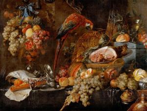 "Jan Davidsz de Heem, ""Still Life with Parrot,"" oil on canvas, c. 1650. 116 x 169 cm, Akademie Bildende Kunste, Vienna, Austria."
