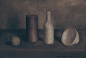 Morandi painting, four objects, dark