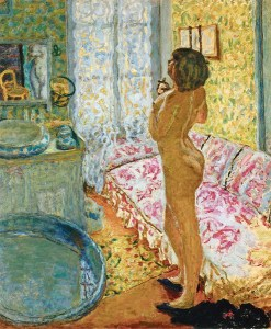 bonnard, 1908, Nu à contre-jour (or Le Cabinet de toilette au canapé rose or L'Eau du Cologne), 1908; Musées royaux des Beaux-Arts de Belgique, Bruxelles