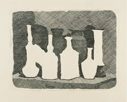Morandi etching, white bottles in silhouette