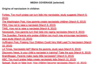 Screenshot of one section in the leading researcher's website, where he reports an extensive list of news coverage.