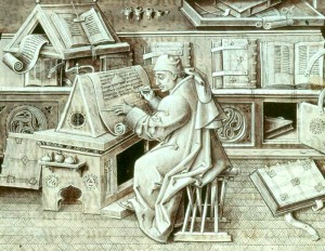 author portrait of Jean Miélot (died 1472) writing his compilation of the Miracles of Our Lady [used to illustrate Zeteo Mission Statement]