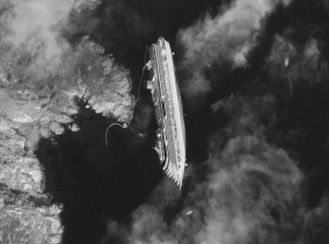 The wreck of the Costa Concordia, Giglio, Italy, 2012, as photographed from a satellite by Digital Globe.