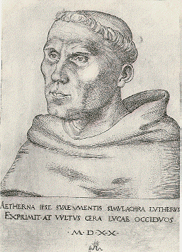 Etching of Martin Luther by Lucas Cranach the Elder
