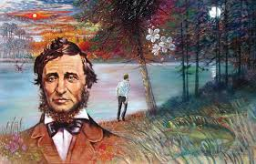 John Lautermilch, painting of Henry David Thoreau as if by the shores of Walden Pond