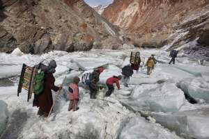Kids Traveling To A Boarding School Through The Himalayas, Zanskar, Indian Himalayas; photo by Timothy Allen