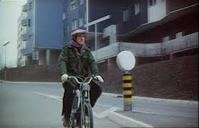 The French actor Rufus (Jacques Narcy) in Alain Tanner and John Berger's 1976 film Jonas qui aura 25 ans en l'an 2000 (For Jonas Who Will Be 25 In The Year 2000) - bicycle