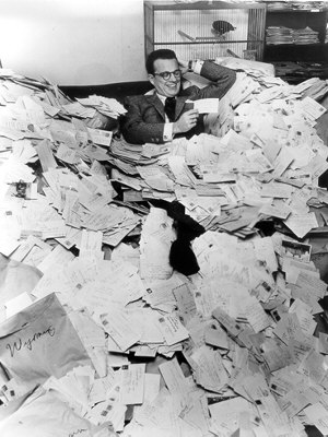 Price is Right host Bill Cullen with fan mail