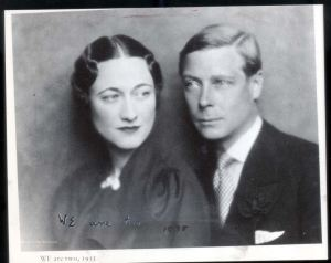 Edward VIII and Wallis Simpson; Duke and Duchess of Windsor Portrait. Picture on which Edward wrote 'We are two'. 1939.