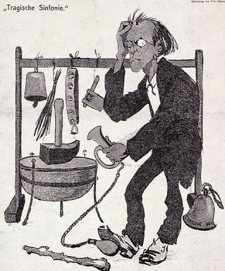 Cartoon from the Austrian magazine Die Muskete, depicting the composer-conductor Gustav Mahler with a variety of musical and pseudo-musical devices.