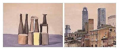 Morandi still life and town diptych