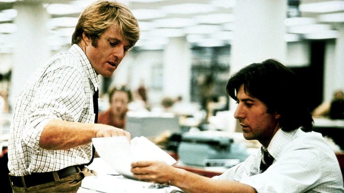 Robert Redford and Dustin Hoffman, All the President's Men, directed by Alan J. Pakula, 1976