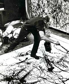 Jackson Pollock making one of his drip paintings. Photograph by Hans Namuth, 1950.