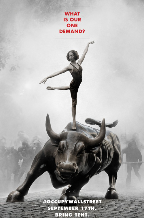 The Ballerina and the Bull, Adbusters poster - Occupy Wall Street