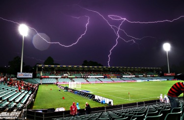 Lightning strikes delay the start of match between the Western Sydney Wanderers and Melbourne City FC at Pirtek Stadium Sydney, Australia - Matt King, Getty Images