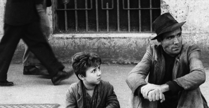 Lamberto Maggiorani (father) and Enzo Staiola (son), Ladri di biciclette (Bicycle Thieves, or The Bicycle Thief), Vittorio De Sica, 1948, Italian neorealism
