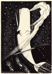 Rockwell Kent produced pen, brush, and ink drawings for a 1930 edition of Moby Dick; the illustration here lets sea and stars interpenetrate, and has the whale ascending to heaven