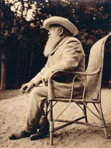 Monet contemplating in the water garden