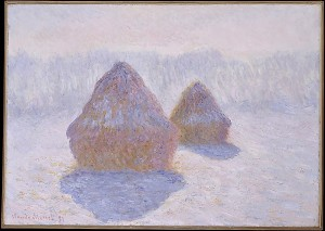 Monet: Grainstacks under snow 1891 (New York: Metropolitan Museum of Art)