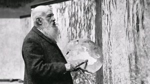 Monet working on the Grandes décorations in his studio