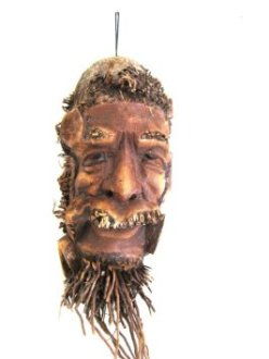 from Amazon site for African Mask Wall Decor World Peace Wise Man Bamboo Root Mask Bali Mask