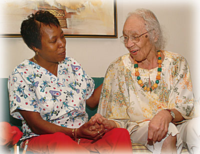 home-care aide with an aging woman
