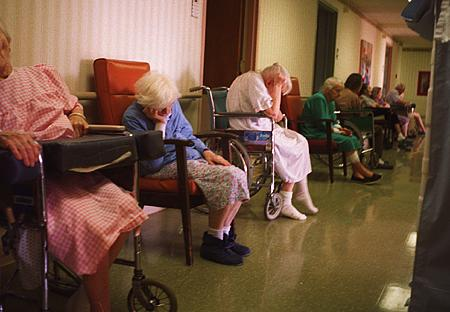 Aging women in a nursing home hallway