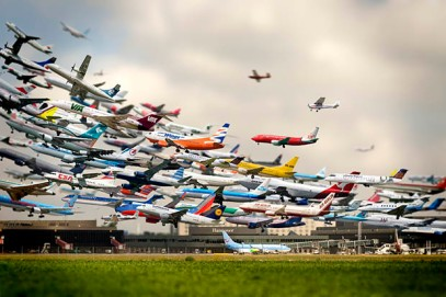 Flughafen [Airport], 2005, composite photo created by Korean artist Ho-Yeol Ryu