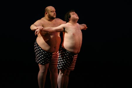 The 25th Annual Putnam County Spelling Bee's Lawrence Goldhuber and Todd Buonopane in their interpretative political dance
