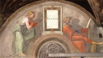 Michelangelo, Sistine Chapel, Ceiling, Lunette - Naason
