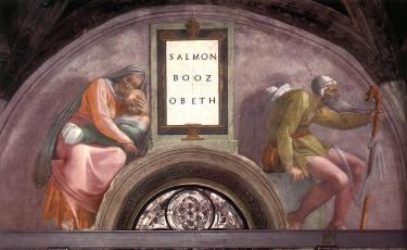 Michelangelo, Sistine Chapel, Ceiling, Lunette - Salmon, Booz, Obeth