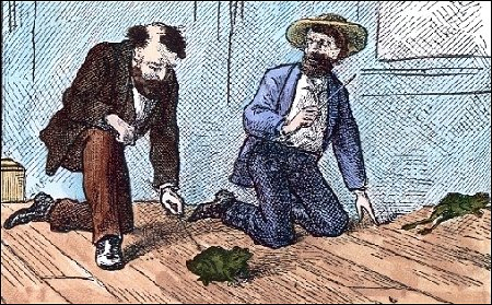 """The Celebrated Jumping Frog of Calaveras County,"" Mark Twain, illustration"