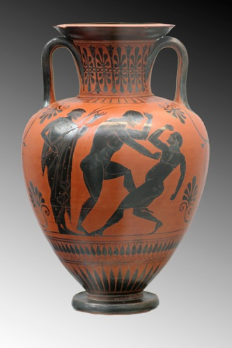 A vase, circa 500 BC, depicting ancient Greek boxers training for competition