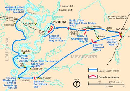 map, Grant's Vicksburg campaign