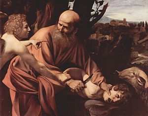 Michelangelo Merisi da Caravaggio, Sacrificio di Isacco (The Sacrifice of Isaac), 1603. In the collection of the Uffizi Gallery, Florence. [scene from Genesis]